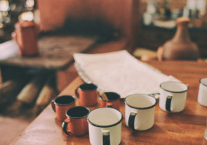 Mugs on a wooden table