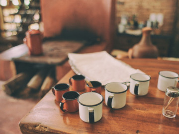 Different types of mugs on a table