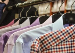 Shirts haging on a rail