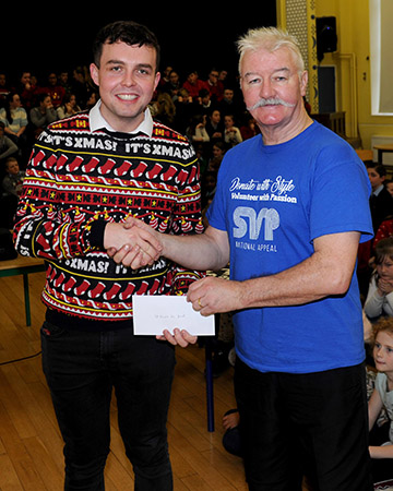Noel O Callaghan pictured last Christmas receiving a donation from the Presentation Convent Mullingar- the whole school was there! What an amazing group of young people, and representative of all the other schools etc who donated.