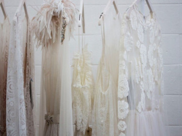 White vintage clothing on a rack