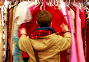 person browsing for clothes